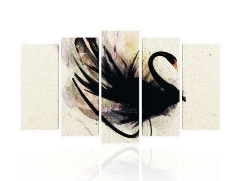 черен лебед картина пано 5 части