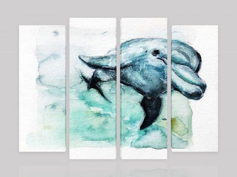 картина пано делфин акварел
